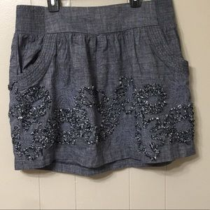 Stooshy Women's L Blue Embroidered Midi Skirt